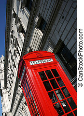 Red telephone - London telephone booth in abstract view -...
