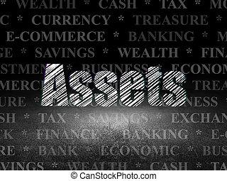 グランジ, 資産, 暗い, 通貨,  concept:, 部屋