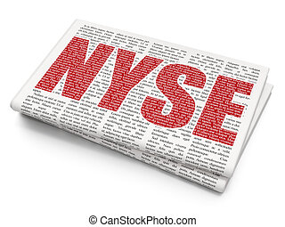 Stock market indexes concept: NYSE on Newspaper background -...