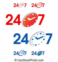 24/7 signs - Vector illustration of 24/7 signs