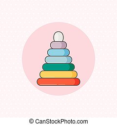 Simple vector icon for ring stacker in rainbow color on pink...