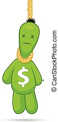 Dollar Suicide - Cartoon voodoo doll with dollar sign...