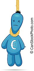 Financial Suicide - Cartoon voodoo doll with euro sign...