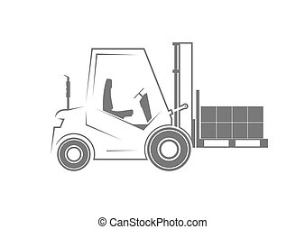 Forklift with a pallet. Vector illustration