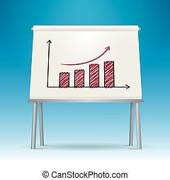 Whiteboard with graph chart vector illustration