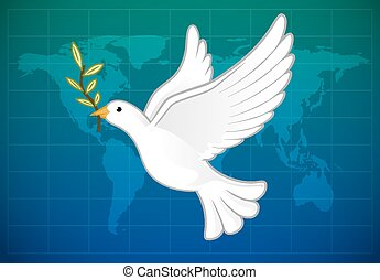 World Peace - White dove flying with olive branch above the...