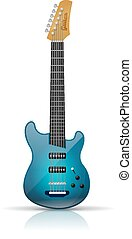 Electric guitar - Blue electric guitar isolated on white...