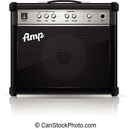 Guitar Amplifier - Black guitar amplifier vector...