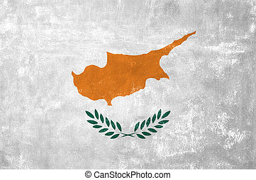 Cyprus - Cypriot Flag on Old Grunge Texture Background