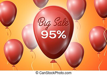 Red Balloons with an inscription Big Sale ninety five percent Discounts. SALE concept for shops store market, web and other commerce. Vector illustration.