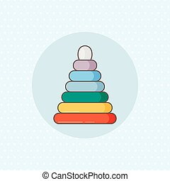 Simple vector icon for ring stacker in rainbow color on blue...