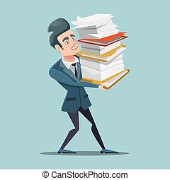 Overworked Businessman with Huge Pile of Documents. Paper Work. Vector illustration