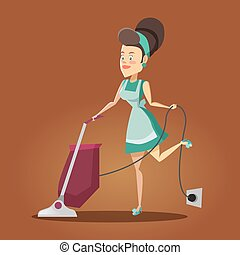 Young Beautiful Housewife Cleaning the House with Vacuum...