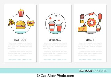 Fast Food Business Brochures. Linear Thin Line Vector Icons Burger Pizza and Junk Food