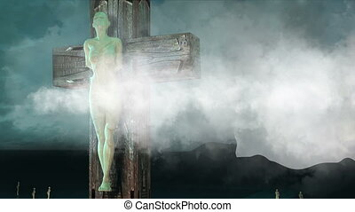 Figure of Crucifixion with clouds and balls - animation -...