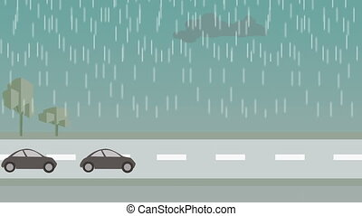 The city during the rainy day - animation - cartoon . The...