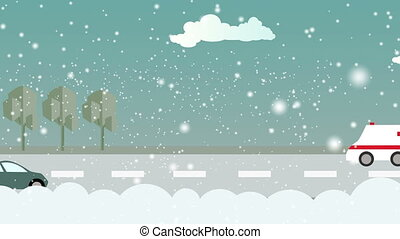 The city in the winter during the day - animation - cartoon...