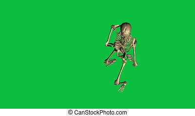 skeleton boxing - separate on green screen - 3d animation of...
