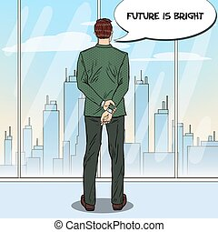 Pop Art Businessman Looking at City Through the Window in Office. Vector illustration