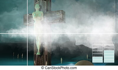 Figure of Crucifixion with clouds and text - animation -...