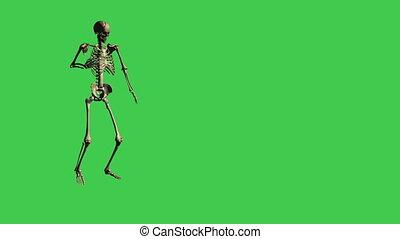 skeleton walking hurt - separate on green screen - 3d...
