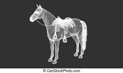 rotation of wire frame isolated horse on black screen -...