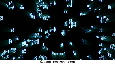 Falling down glowing random binary code numbers on a black...