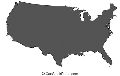 Map of USA - isolated - Rendered map of USA