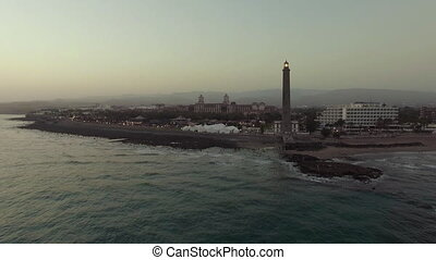 Aerial shot of Gran Canaria coast with lighthouse - Aerial...