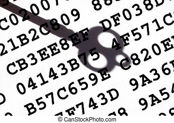 Encryption key concept - A sheet with encrypted data with a...