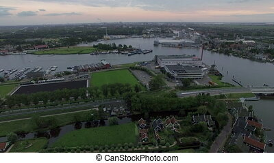 Aerial shot of town in Netherlands - Aerial view of town...