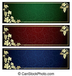 Set from backgrounds with frame from gold vine