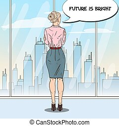 Pop Art Business Woman Looking at City Through the Window in Office. Vector illustration