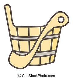 Simple vector icon of sauna wooden scoop and bucket on white...