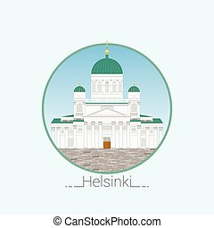 Helsinki cathedral detailed vector illustration. Flat style. Symbol of Helsinki. Finland. Icon for travel agency.