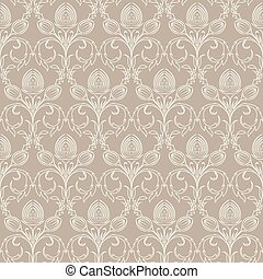 Damask pattern - Beige seamless from flower(can be repeated...