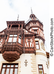 View of a part of Peles Castle from Sinaia, Romania....