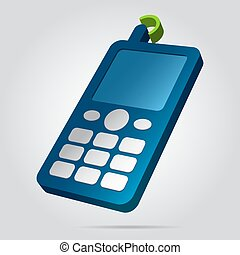 3D image - colored old mobile phone with antenna