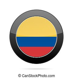 Flag of Colombia. Shiny black round button.