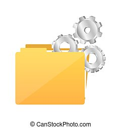 color silhouette with folder and pinions