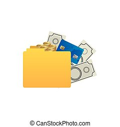 color silhouette of folder with money accounts