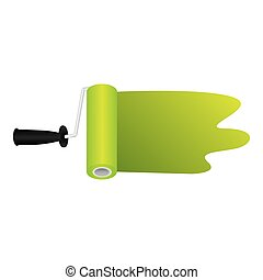 paint roller with stroke green