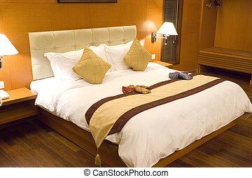 hôtel, chambre à coucher