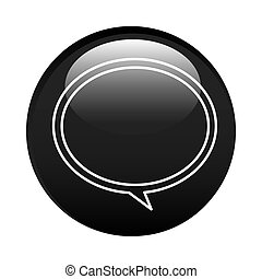 black circular frame with speech bubble icon