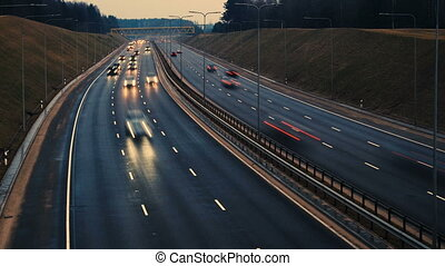 City freeway in timelapse. Vilnius, Lithuania.