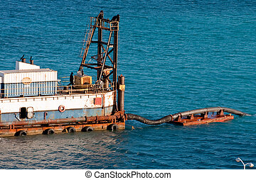 Dredging Operation in Deep Blue Sea - A deep sea dredging...