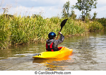 Boy canoeing - boy canoeing on local waterways