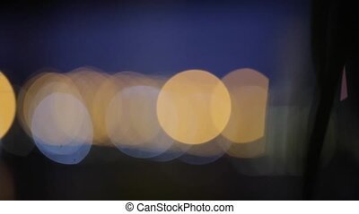Lights of the city in defocus blur