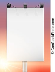 Closeup Empty mockup billboard with sun at sunset. A4...