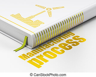 Manufacuring concept: book Windmill, Manufacturing Process on white background